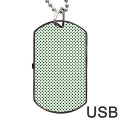 Shamrock 2 Tone Green On White St Patrick's Day Clover Dog Tag Usb Flash (one Side) by PodArtist