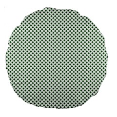 Shamrock 2 Tone Green On White St Patrick's Day Clover Large 18  Premium Round Cushions by PodArtist