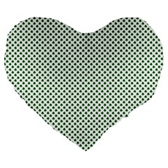 Shamrock 2 Tone Green On White St Patrick's Day Clover Large 19  Premium Heart Shape Cushions by PodArtist