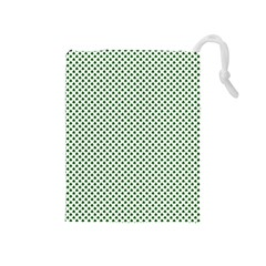 Shamrock 2 Tone Green On White St Patrick's Day Clover Drawstring Pouches (medium)  by PodArtist