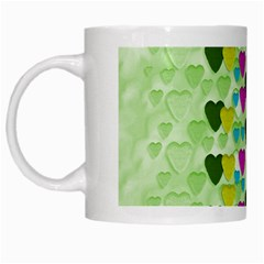Summer Time In Lovely Hearts White Mugs by pepitasart