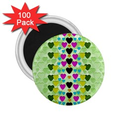 Summer Time In Lovely Hearts 2 25  Magnets (100 Pack)  by pepitasart