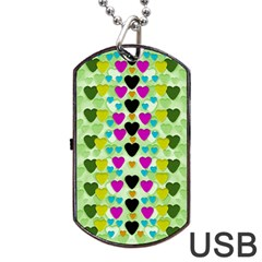 Summer Time In Lovely Hearts Dog Tag Usb Flash (two Sides) by pepitasart
