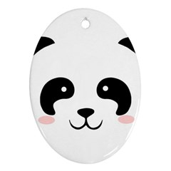 Panda  Oval Ornament (two Sides)