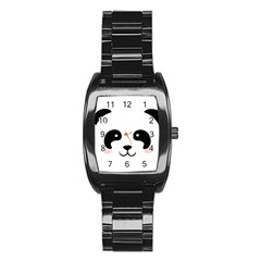 Panda  Stainless Steel Barrel Watch by Valentinaart