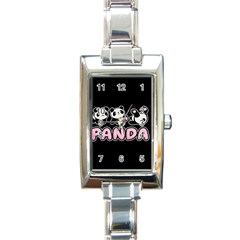 Panda  Rectangle Italian Charm Watch