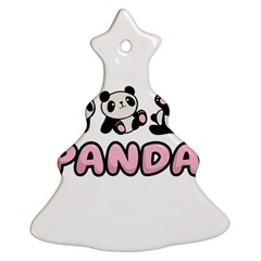 Panda  Christmas Tree Ornament (two Sides) by Valentinaart
