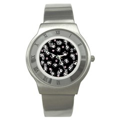 Panda Pattern Stainless Steel Watch by Valentinaart