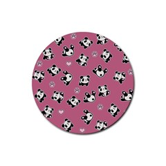 Panda Pattern Rubber Round Coaster (4 Pack)  by Valentinaart
