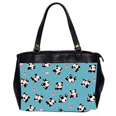Panda Pattern Office Handbags (2 Sides)  by Valentinaart