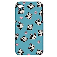 Panda Pattern Apple Iphone 4/4s Hardshell Case (pc+silicone) by Valentinaart