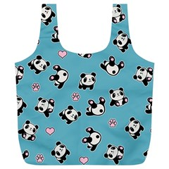 Panda Pattern Full Print Recycle Bags (l)  by Valentinaart
