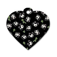 Panda Pattern Dog Tag Heart (two Sides) by Valentinaart
