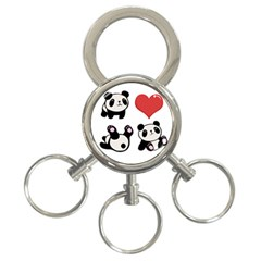 Panda 3 Ring Key Chains by Valentinaart
