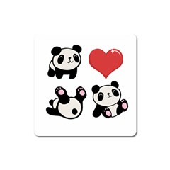 Panda Square Magnet by Valentinaart