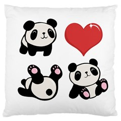 Panda Large Flano Cushion Case (one Side) by Valentinaart