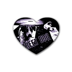 Street Dogs Rubber Coaster (heart)  by Valentinaart