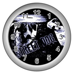 Street Dogs Wall Clocks (silver)  by Valentinaart
