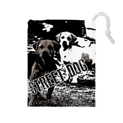 Street Dogs Drawstring Pouches (large)  by Valentinaart
