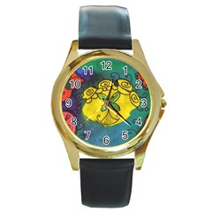 Cross Flowers Round Gold Metal Watch