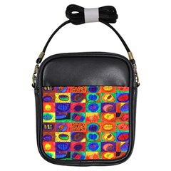 Water Color Eggs Tile Girls Sling Bags
