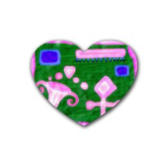 Hearts For The Pink Cross Rubber Coaster (heart)