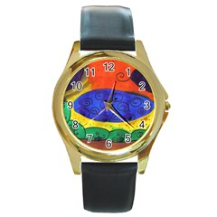 Face Round Gold Metal Watch