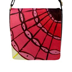 Red Fan Flap Messenger Bag (l)  by snowwhitegirl