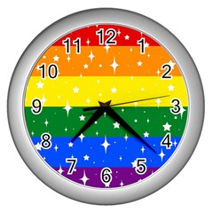 Sparkly Rainbow Flag Wall Clocks (silver)  by Valentinaart