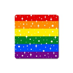 Sparkly Rainbow Flag Square Magnet