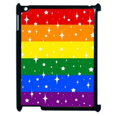 Sparkly Rainbow Flag Apple Ipad 2 Case (black) by Valentinaart