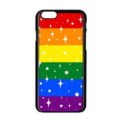 Sparkly Rainbow Flag Apple Iphone 6/6s Black Enamel Case by Valentinaart