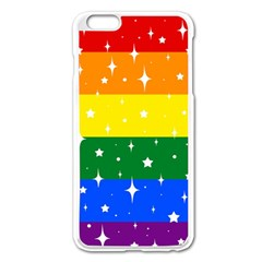 Sparkly Rainbow Flag Apple Iphone 6 Plus/6s Plus Enamel White Case by Valentinaart