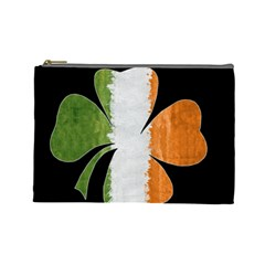 Irish Clover Cosmetic Bag (large)  by Valentinaart