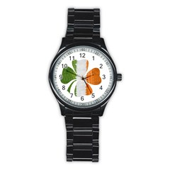 Irish Clover Stainless Steel Round Watch by Valentinaart