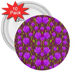 Roses Dancing On A Tulip Field Of Festive Colors 3  Buttons (10 Pack)  by pepitasart