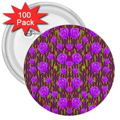 Roses Dancing On A Tulip Field Of Festive Colors 3  Buttons (100 Pack)  by pepitasart