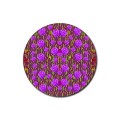 Roses Dancing On A Tulip Field Of Festive Colors Rubber Coaster (round)  by pepitasart