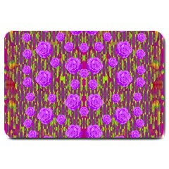 Roses Dancing On A Tulip Field Of Festive Colors Large Doormat  by pepitasart