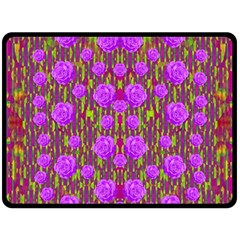 Roses Dancing On A Tulip Field Of Festive Colors Fleece Blanket (large)  by pepitasart