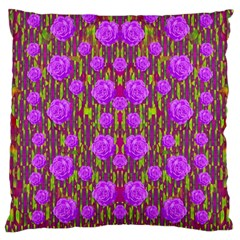 Roses Dancing On A Tulip Field Of Festive Colors Large Cushion Case (one Side) by pepitasart