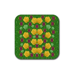 Roses Dancing On  Tulip Fields Forever Rubber Coaster (square)  by pepitasart
