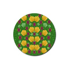 Roses Dancing On  Tulip Fields Forever Rubber Coaster (round)  by pepitasart