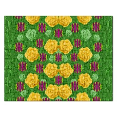 Roses Dancing On  Tulip Fields Forever Rectangular Jigsaw Puzzl by pepitasart