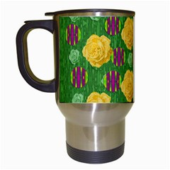 Roses Dancing On  Tulip Fields Forever Travel Mugs (white) by pepitasart