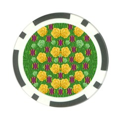 Roses Dancing On  Tulip Fields Forever Poker Chip Card Guard by pepitasart