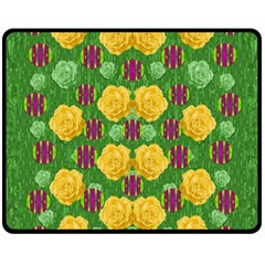 Roses Dancing On  Tulip Fields Forever Fleece Blanket (medium)  by pepitasart