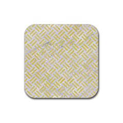 Woven2 White Marble & Yellow Watercolor (r) Rubber Square Coaster (4 Pack)