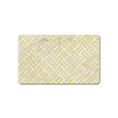 Woven2 White Marble & Yellow Watercolor (r) Magnet (name Card) by trendistuff