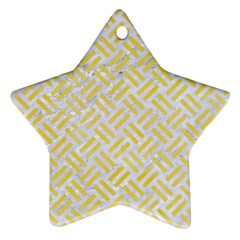 Woven2 White Marble & Yellow Watercolor (r) Star Ornament (two Sides) by trendistuff